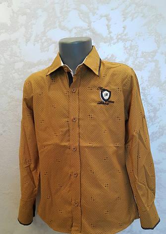 Нарядная рубашка на мальчиков 110,116,122,128 роста Горчица, фото 2