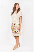 Женская юбка на лето кремового цвета с вышивкой