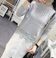Свитер женский с имитацией рубашки с кружевом серый, красивая одежда