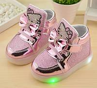 Стильные  ботиночки для девочки с подсветкой, фото 1