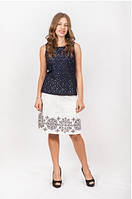 Женская юбка белого цвета льняная с вышивкой