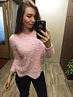 Свитер женский травка люрексом и жемчужинамив ТРЁХ РАСЦВЕТКА