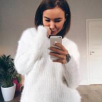 Свитер женский пушистый модный белый ,стильные кофты