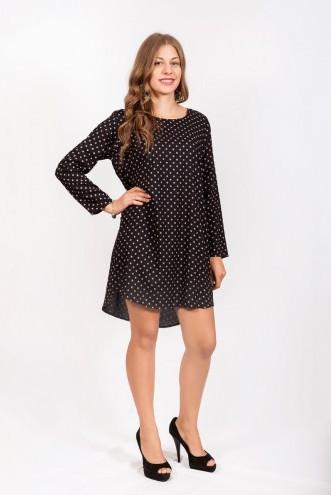 Платье-туника свободного кроя в горошек