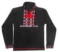 Вышиванка чёрного цвета (машинная вышивка крестиком, длинный рукав), рост 128-134 см , фото 1