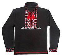 Вышиванка чёрного цвета (машинная вышивка крестиком, длинный рукав), рост 122-128 см , фото 1