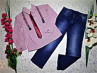 Костюм   для мальчика с рубашкой, джинсами и галстуком РАЗМЕРЫ 5 И 6 ЕСТЬ