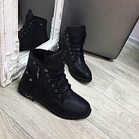 Женские черные ботинки на низком ходу из эко кожи