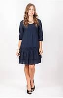 Платье женское синего цвета с мережкой