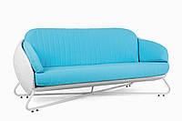 Диван плетеный из искусственного ротанга белый с голубой подушкой Heaven
