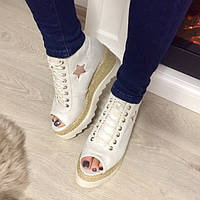 Ботинки  в стиле Stella McCartney белый перламутр