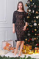 Элегантное черное платье с красивым ажурным кружевом