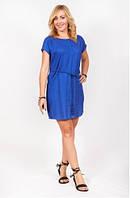 Платье женское летнее синего цвета с пояском