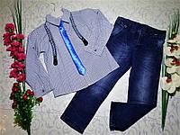 Костюм   для мальчика с рубашкой, джинсами и галстуком  на 5 И 6