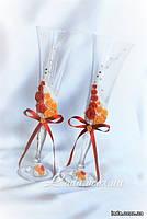 """""""Краски осени"""", бокалы для свадьбы, с цветами из пластика"""