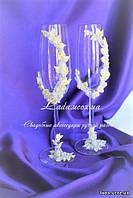 """""""Нимфа"""", свадебные бокалы с декором айвори, украшенные цветами ручной работы."""