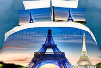 Постельное белье Love You сатин Париж Двуспальный евро комплект