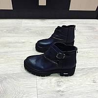 Стильные женские ботинки броги синего цвета