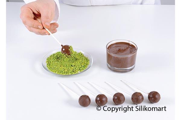 Набор форм силиконовых Silikomart (2 шт. для пирожного с крышкой и подставкой, d 28 мм, 11,5 мл, 36 палочек)