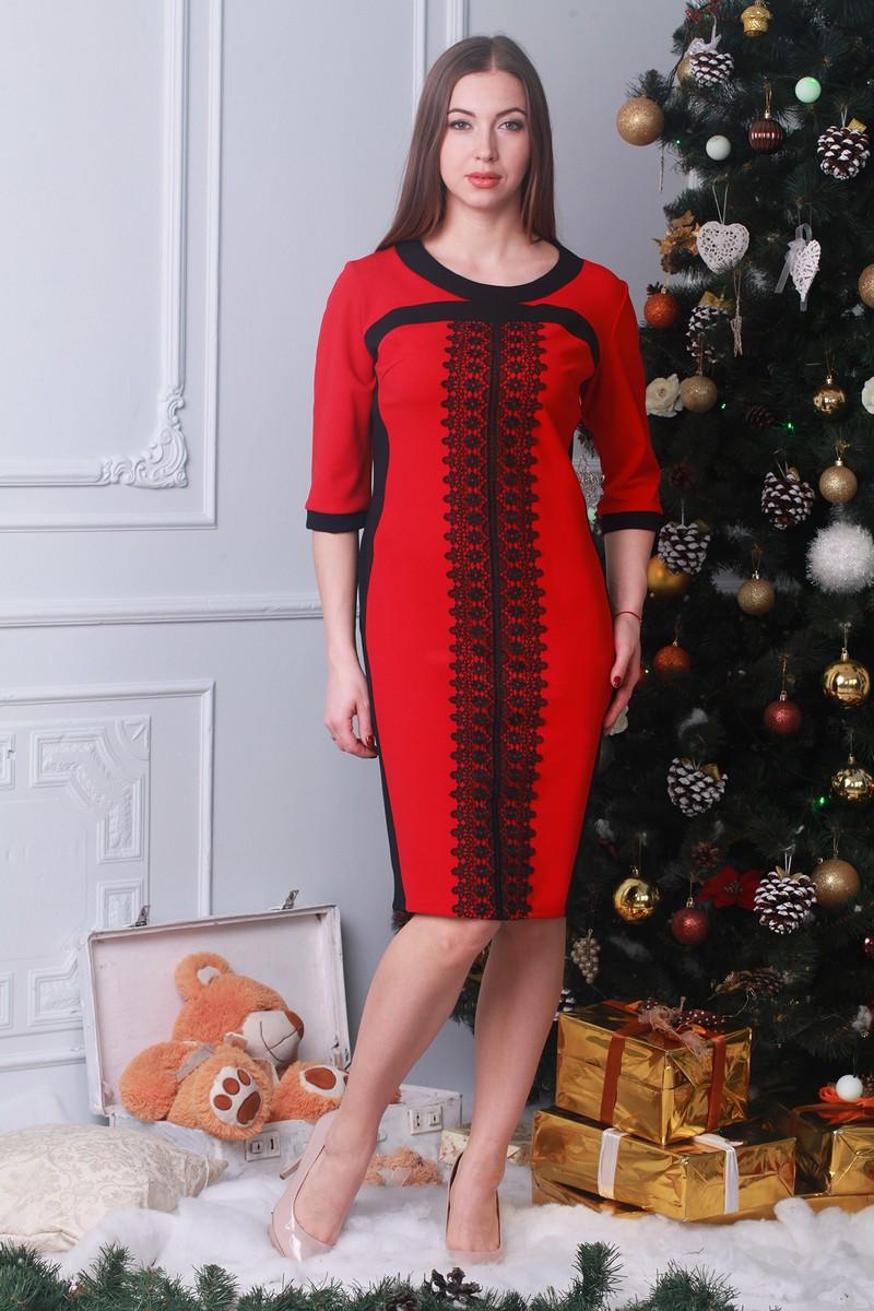 327e4e1a646 Красное платье с контрастной черной кружевной вставкой
