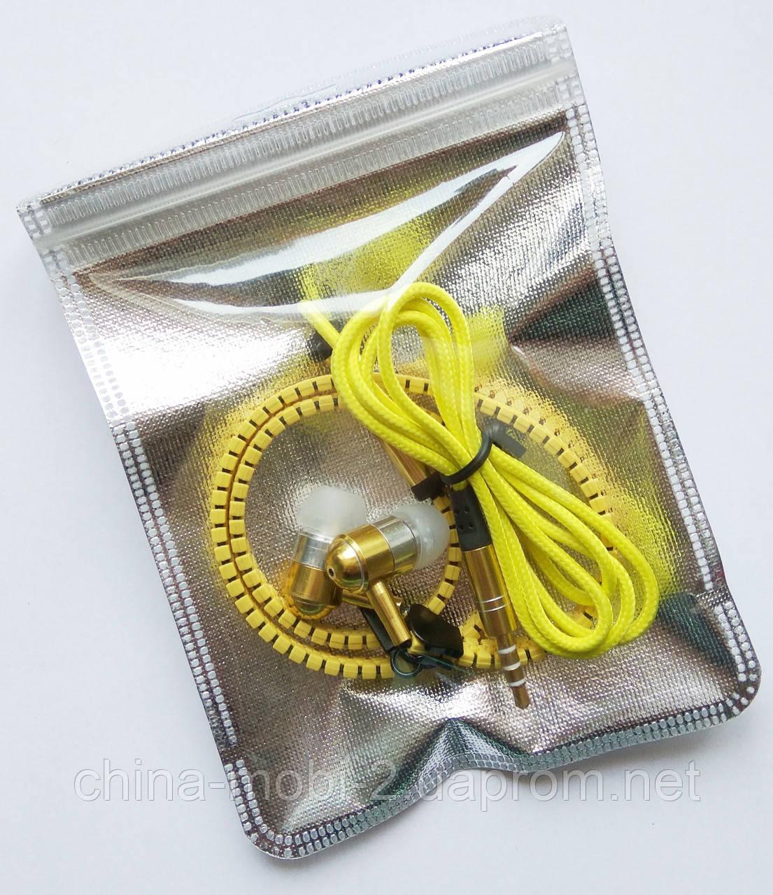 Наушники Zipper с микрофоном, Yellow