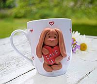 Сувенирная чашка Заяц с сердцем Подарок влюбленным