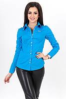 Классическая женская рубашка хлопок, с золотыми пуговицами