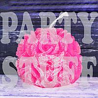 Свеча Роза круглая, Ярко-розовая 6,5 см