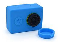 Силиконовый чехол, футляр с крышкой на объектив для экшн камер Xiaomi YI - синий (код № XTGP234)