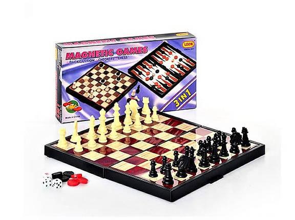 Магнитный игровой набор 9831, шахматы, шашки, нарды, 3 в 1, на магнитах, в коробке, интеллектуальное развитие , фото 2