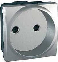 SСHNEIDER ELECTRIC UNICA Розетка без заземления с защитными шторками  под рамку Алюминий