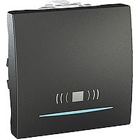 """SСHNEIDER ELECTRIC UNICA Выключатель кнопочный одноклавишный с индикационной подсветкой и символом """"свет"""" 2 модуля 10А Графит"""
