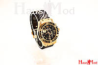 Женские наручные часы Hublot рептилия с камнями Черные + фиолет