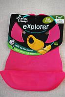 Слюнявчик, нагрудник силиконовый Explorer (аналог Roll n Go Tommee Tippee)) Розовй