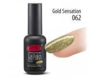 Гель-лак PNB№062 Gold Sensation (прозрачный с мелкими золотистыми блестками), 8 мл
