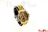 Женские наручные часы Hublot Желтые  рептилия с камнями
