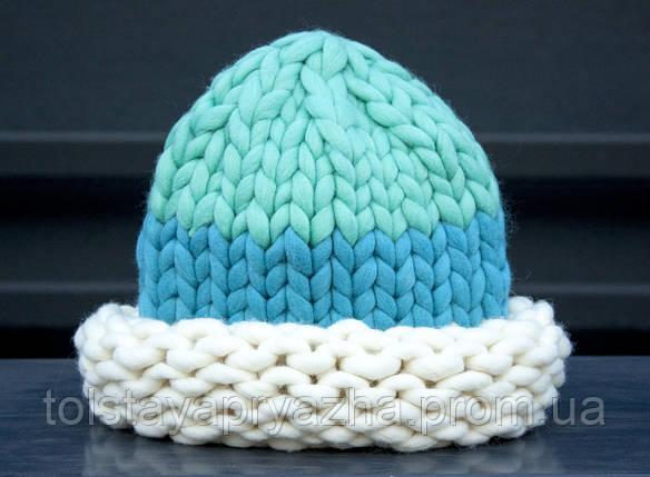 Шапка из толстой пряжи (мята/голубой), фото 2