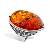 Серебряное кольцо с янтарем и золотом