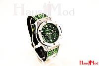 Женские наручные часы Hublot Зеленые  рептилия