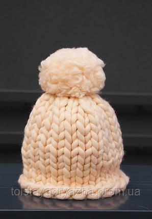 Шапка з товстої пряжі з бубоном (персик), фото 2