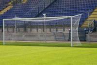 Футбольные ворота разборные без дуг со стойками крепления сетки Алюминевые 7320х2440мм.