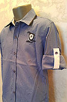 Красивая рубашка на мальчиков 110,116,122,128 роста Индиго