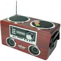 Портативный радиоприемник цифровой STAR SR-8942, 2х3Вт, USB/CD разъемы, пульт ДУ, 21х12,5х11см, дерево