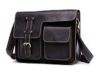 Мужская кожаная сумка BEXHILL формата А4 через плечо в винтажном стиле коричневая