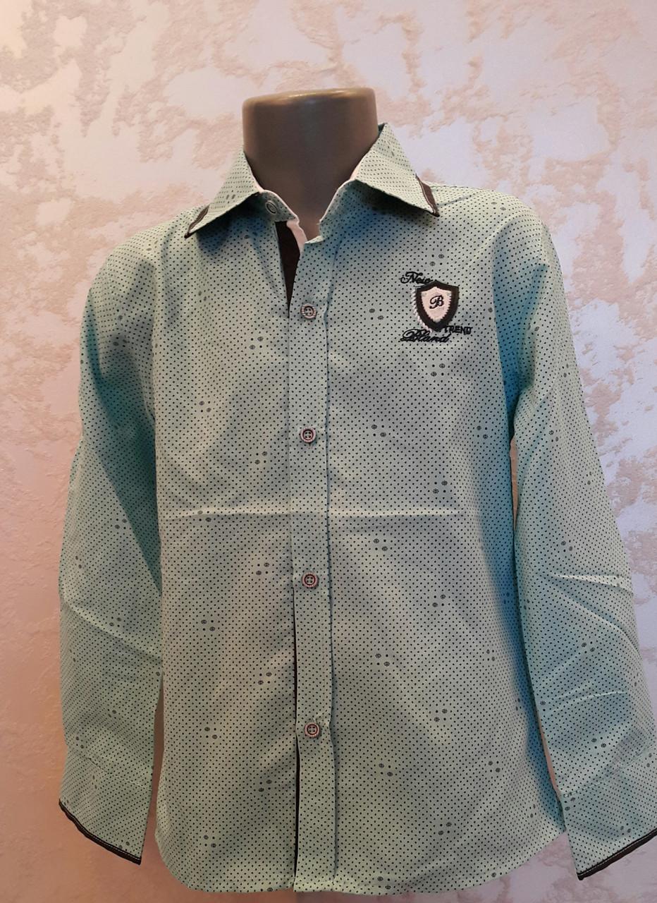 Рубашка нарядная на мальчиков 110,116,122 роста Мята