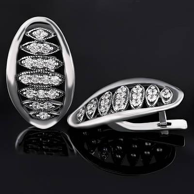 Крупные серебряные серьги с цирконием