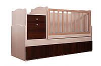 """Современная универсальная удобная кроватка трансформер для ребенка """"Дадон"""" 5в1 ТМ «Вальтер» Венге светлый + Орех темный"""