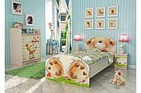 Удобная сказочная кровать «Мишка с букетом» ТМ «Вальтер - С» Венге светлый