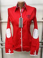 Красивая женская рубашка с длинным рукавом Th 85 красного цвета