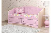 """Удобный красивый детский диван """"Kiddy"""" №3 (70х140 см / 90х190см) ТМ «Вальтер - С» Венге светлый + Розовый"""